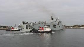 Vliegdekschip van de Hms het Oceaan, Koninklijke Marine, Plymouth, Devon stock videobeelden