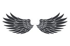 Vliegen de de engelen dierlijke vleugels van de silhouetvogel het decoratieve zwarte die voorwerp van het veerontwerp op witte ve royalty-vrije illustratie