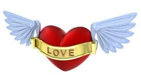 Vliegend 3D liefde rood hart. Royalty-vrije Stock Foto's