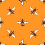 Vliegend bijen vector naadloos patroon in heldere sinaasappel royalty-vrije illustratie
