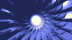 Vliegend binnen cybertunnel in eindeloze motie met roterende delen van zijn shell, 3D effect animatie Weergeven binnen van royalty-vrije illustratie