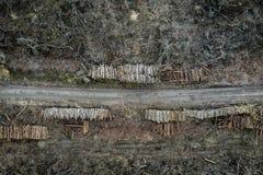 Vliegend boven afschuwelijke ontbossing, registreren, milieuvernietiging royalty-vrije stock fotografie