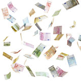 Vliegend Euro papiergeld Stock Foto