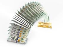 Vliegend geld 3D contant geld achterconcept Royalty-vrije Stock Foto