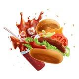 Vliegend Hamburger en Glas Soda met Plons Geïsoleerdj op witte achtergrond Stock Afbeeldingen