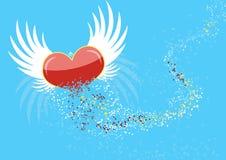 Vliegend hart met de vleugels, die in deeltjes worden gebroken Stock Foto's