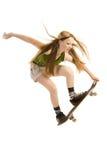 Vliegend meisje -meisje-skateboarder Stock Afbeelding