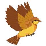 Vliegend vogelbeeldverhaal dat op een witte achtergrond wordt geïsoleerdn Royalty-vrije Stock Afbeeldingen