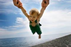 Vliegende baby Stock Foto's
