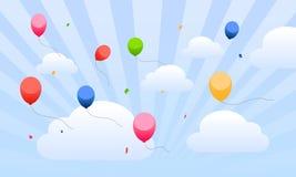 Vliegende ballons in de hemel voor jonge geitjes Stock Afbeeldingen