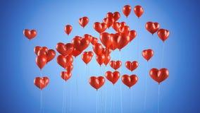 Vliegende ballons in de vorm van een hart royalty-vrije stock afbeelding