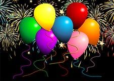 Vliegende ballons met vuurwerk Royalty-vrije Stock Foto's