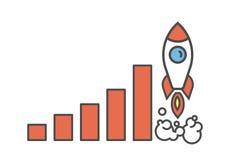 Vliegende bedrijfsraket vector illustratie