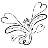 Vliegende bevallige vogel met een bosje en een patroon, harten royalty-vrije illustratie