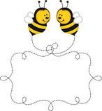 Vliegende bijen die etiket in de lucht maken Royalty-vrije Stock Fotografie