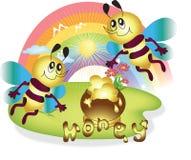 Vliegende bijen met honing Stock Fotografie