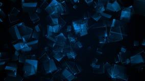 Vliegende blauwe rechthoekige kubussen stock videobeelden
