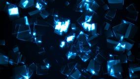 Vliegende blauwe rechthoekige kubussen stock video