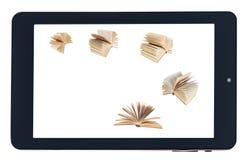 Vliegende boeken op het scherm van zwarte geïsoleerde tablet-PC royalty-vrije stock afbeelding