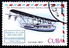 Vliegende boot en internationaal 1st de vluchtcachet van de luchtpostdienst Royalty-vrije Stock Foto