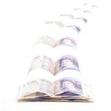 Vliegende Britse 20 ponden Stock Foto