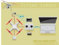 Vliegende camera Stock Foto