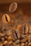 Vliegende coffe bonen Stock Foto's
