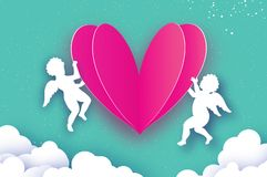 Vliegende Cupido's - amur engelen met Liefde Roze Hart in document vector illustratie