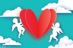 Vliegende Cupido's - amur snijden de engelen met Liefde ROOD Hart in document stijl Origamicherubijnen De gelukkige Dag van de Va stock illustratie