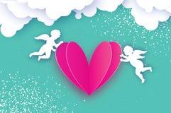 Vliegende Cupido's - amur snijden de engelen met Liefde Roze Hart in document stijl Origamicherubijnen De gelukkige Dag van de Va royalty-vrije illustratie
