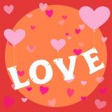 Vliegende de ballon gelukkige valentijnskaart als thema gehade affiche van het liefdehart Stock Afbeeldingen
