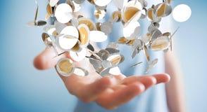 Vliegende de muntmuntstukken van de zakenmanholding in zijn hand 3D renderi Royalty-vrije Stock Foto