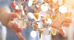 Vliegende de muntmuntstukken van de zakenmanholding in zijn hand 3D renderi Royalty-vrije Stock Fotografie