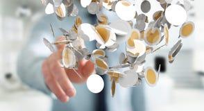 Vliegende de muntmuntstukken van de zakenmanholding in zijn hand 3D renderi Royalty-vrije Stock Foto's