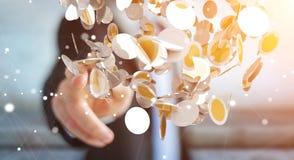 Vliegende de muntmuntstukken van de zakenmanholding in zijn hand 3D renderi Royalty-vrije Stock Afbeeldingen