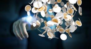 Vliegende de muntmuntstukken van de zakenmanholding in zijn hand 3D renderi Stock Foto