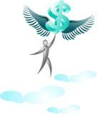 Vliegende dollar met de mens Royalty-vrije Stock Foto's