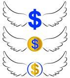 Vliegende dollarsymbolen in vleugels vector illustratie