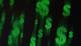 Vliegende dollartekens stock videobeelden