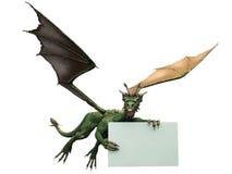 Vliegende draak met teken Stock Illustratie