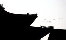 Vliegende Duiven en de rand van Chinees paleis stock afbeelding