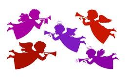 Vliegende engel het spelen trompet Silhouet hemelse boodschapper, cherubijnpictogram of symbool Vector illustratie stock illustratie