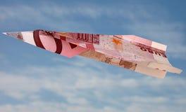 Vliegende Euro royalty-vrije stock afbeelding
