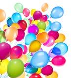 Vliegende geïsoleerde ballons stock afbeeldingen
