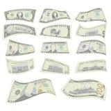 Vliegende Geplaatste Dollars Vector Twee Kanten van Amerikaans Geld Bill Illustration Vliegende Contant gelddollar elk stock illustratie