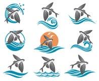 Vliegende geplaatste vissenillustraties stock illustratie