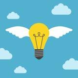 Vliegende gevleugelde gloeilamp Stock Illustratie