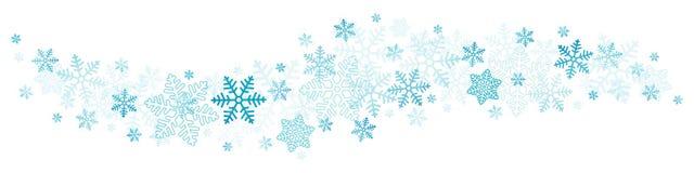 Vliegende Grote en Kleine Blauwe Sneeuwvlokken en Sterren Horizontale Grens vector illustratie