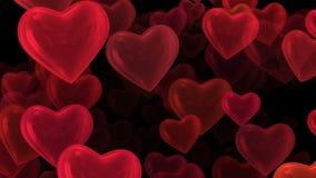 Vliegende harten op zwarte stock video