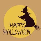 Vliegende heks in Halloween Stock Illustratie